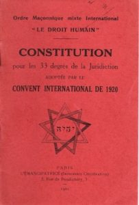 International Constitution of the DROIT HUMAIN 1920